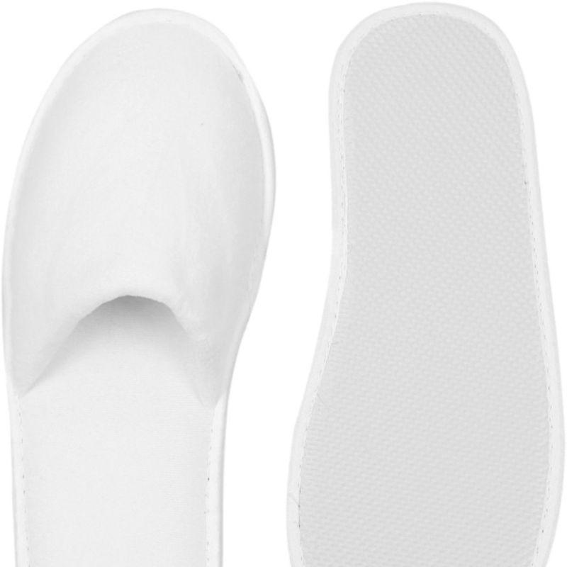 Velours Badeslipper weiß - offen + geschlossen